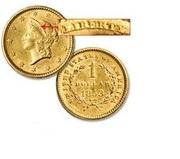 Монета 1 долар США 1853 року, золото 900 проба