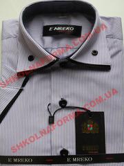 Рубашка для мальчика сиреневая в полоску с коротким рукавом Emreko