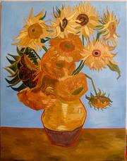 Картина Подсолнухи,  копия Ван Гог,  холст,  масло 70х90 см