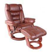 Кресло Релакс с оттоманкой,  натуральная кожа,  литая гнутая фанера,  цве