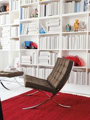 Крісло Барселона італійська шкіра,  каркас хромований і покриття inox.